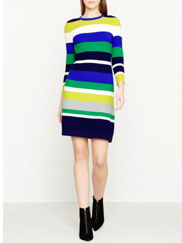 Bianco Bandage Karen Stripe Club Evening 130 Multi Dress Party Millen Ka007 Knit £ New Bodycon Bnwt Blu verde wS8adaq