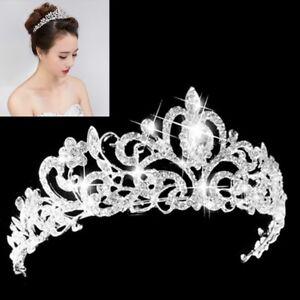 Wedding-Bridal-Princess-Austrian-Crystal-Prom-Hair-Tiara-Crown-Veil-Headband-Sil