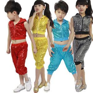 d63ff7eac8fc Sequins Girls Boys Modern Jazz Hip Hop Dance Costumes Kids Dancewear ...