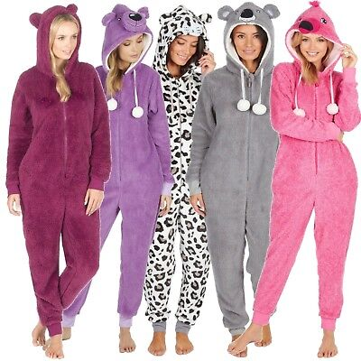 Ladies Girls 1Onesie Hooded All in One Pyjamas Novelty Animal Fleece Zip Pajama | eBay