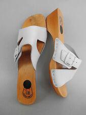 Legno (e) zoccoli sandali tg 41 Vera Pelle, Bianco (4-76) * con errore *