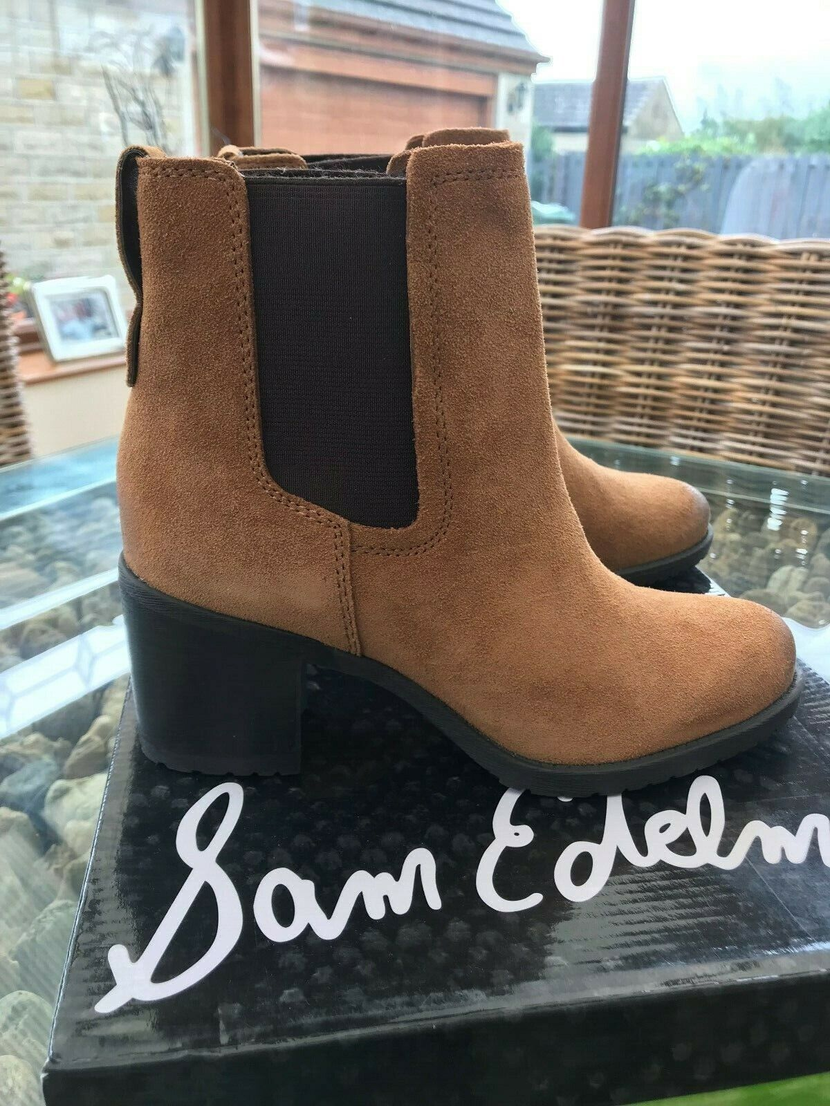 Sam Edelman Designer Tan Suede Distressed Look Block Heel Ankle Stiefel New