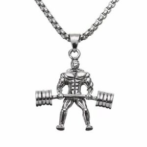 Stainless steel muscle man weightlifting pendant necklace gym image is loading stainless steel muscle man weightlifting pendant necklace gym aloadofball Choice Image