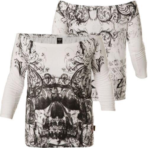Yakuza 13140 Pullover Glsb Longsleeve Skull Ornamental Damen White Shoulder Off rpBwrFq