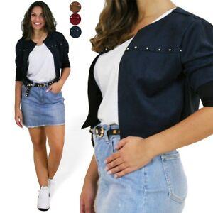 more photos 9535f 1a5c3 Dettagli su Coprispalle donna giacca bolero elegante corto borchie basic  manica lunga nuovo