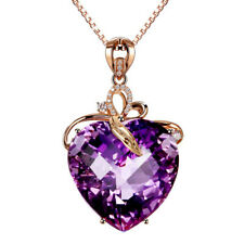 Sterling Silver Love Heart Amethyst Crystal Necklace Pendant Birthday Gift A27