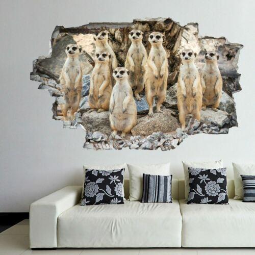 Suricates Animal 3D Wall Art Autocollant Mural Decal Poster Kids Room Decor DL36
