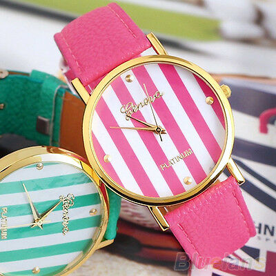 Womens Classic Stripes Print Dial Leather Band Analog Quartz Wrist Watches B8CU