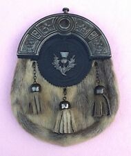 New Full Dress Kilt Sporran Seal Skin Celtic Cantle Antique Thistle Crest Emblem