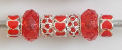 7 MIXED BEADS HEARTS RHINESTONES /& FACETED  5 CHOICES FOR EUROPEAN BRACELET