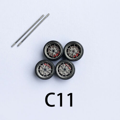 rubber tires ,stickers 【Pro V2.0】 1//64 Scale Alloy Wheels with Brake Caliper