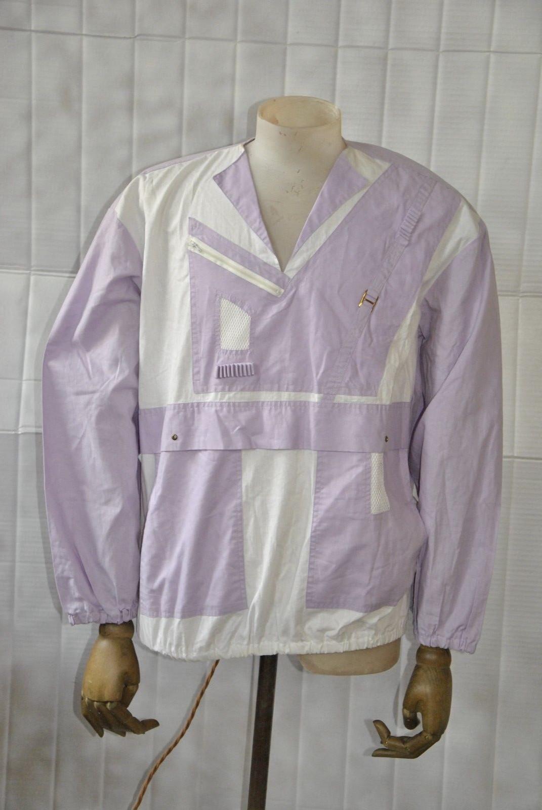 Sweatshirt Oberhemd Pullover Detailarbeit 80er lila weiß TRUE VINTAGE 80s shirt