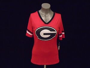 GEORGIA BULLDOGS NEW NCAA WOMEN'S DEEP V-NECK DRI-FIT FASHION SHIRT