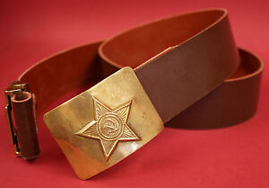 Russian Soviet Army officer waist leather belt with PM holsterleather sling brass buckle NAVY Black USSR original vintage item 1990-s new