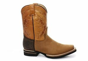 New Grinders El Paso Tan Brown Real Leather Cowboy Boot Slip On Mid Calf Boots Feines Handwerk
