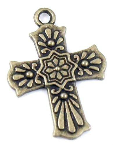 Wholesale 14//28Pcs Bronze Plaqué ( Lead-Free ) Cross Charms Pendentif 20.5x29mm
