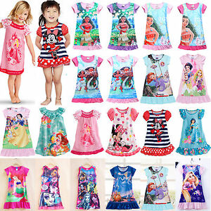 c2a7806e2f0b8 Details about Girls Kids Baby Princess Moana Elsa Nightdress Pajamas  Nightwear Nightie Dress