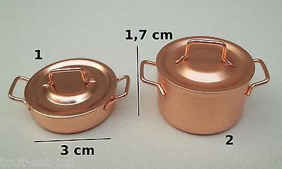 faitout en cuivre miniature,maison de poupée,vitrine, cuisine,casserole,pan *CL2