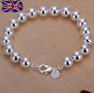925-Sterling-Silver-plated-Ball-Bead-Bracelet-Hollow-8mm-Bangle-Gift-Bag-UK