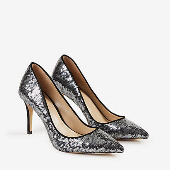 158 Ann Taylor Mila Silver Sequin Pumps Glam Party Diva Dress shoes Heels 9.5