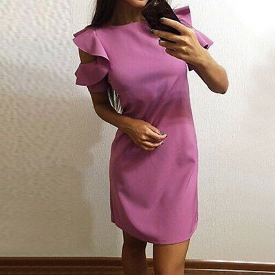 Elegant Women Ruffles O-Neck Bodycon Dress Casual Party Slim Beach Dress Club