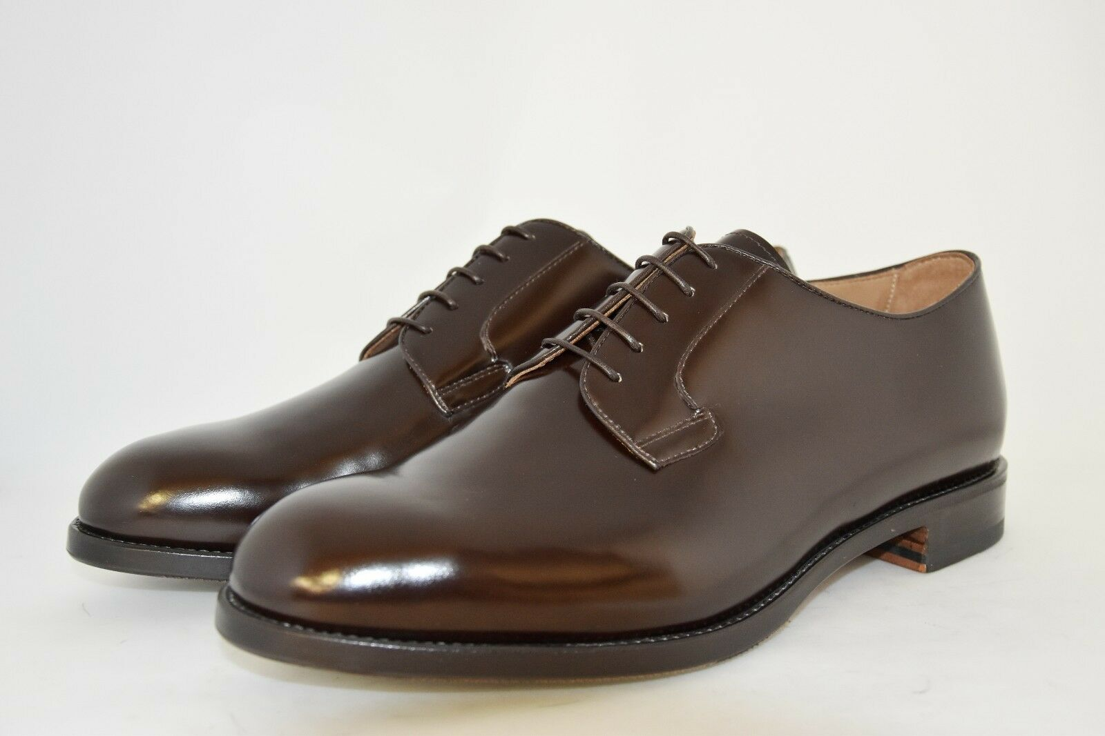 MAN-10½eu-11½usa-DERBY-SHINE BROWN CALF-LEATHER SOLE+HALF RUBBER