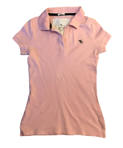 Abercrombie-amp-Fitch-Women-039-s-Polo-T-Shirt-Pink-Short-Sleeve-Medium-Cotton-Blend