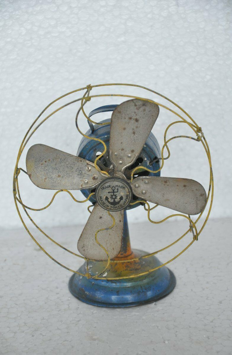 Vintage Penny Pequeño Ancla Marca Iron Wind Up Ventilador, Japón
