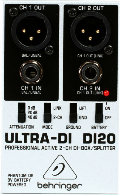 New Behringer Ultra-DI DI20 Direct box 3 Year Warranty! Auth Dealer!
