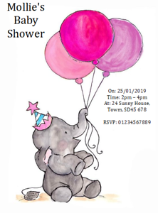 personalised party invites baby shower invitations ELEPHANT BALLOONS PINK GIRL