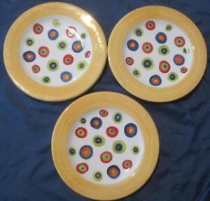 """Present Tense Ditto Assiettes À Salade Set De 3 Jaune Jante Dots 8.5"""" Italie Lot-a-afficher Le Titre D'origine 7gbbckj7-07232749-248656294"""