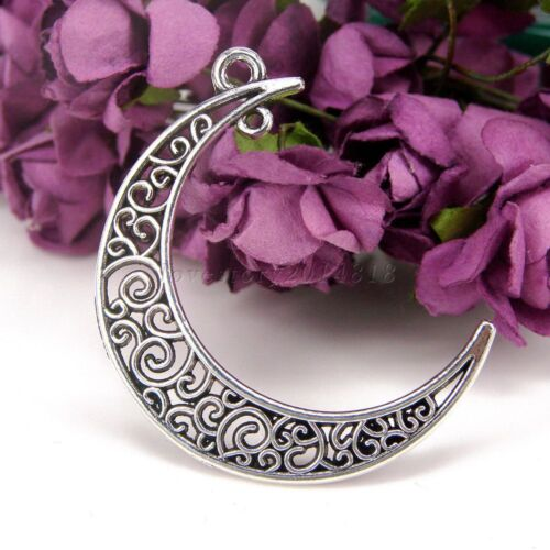 Crescent Moon 5//20//100pcs Antique Silver Tibetan 36mmx36mm Charms Pendants