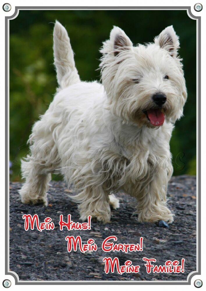 TARGHETTA per cani-West Highland bianca Terrier-Westie-metallo segnaletica-wetterb