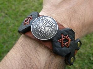 Hebrew-Israel-Menorah-coin-Star-of-David-Jewish-cuff-Bracelet-Bison-Leather