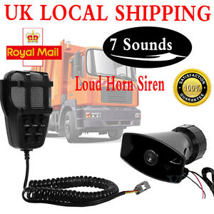 12V-100W-Loud-7-Sounds-Air-Horn-Siren-Speaker-For-Auto-Car-Boat-PA-System-MIC-CR