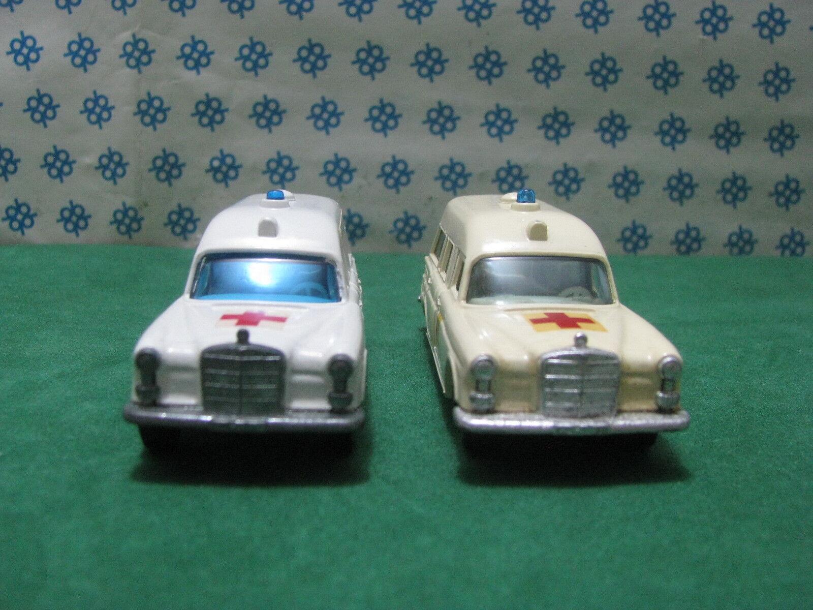 Vintage Matchbox - Paire Mercedes-Benz   Binz Ambulance   - 1 43