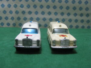 Vintage-Matchbox-Coppia-MERCEDES-BENZ-034-Binz-Ambulance-034-1-43