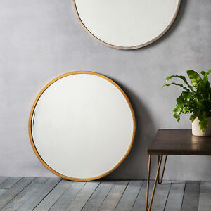 Higgins-Large-Antique-Gold-Round-Rustic-Metal-Wall-Mirror-31-5-034-80cm-Diameter