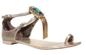f2092a659b9fa Image is loading GIUSEPPE-ZANOTTI-Embellished-Flat-Sandals-SIZE-37-5