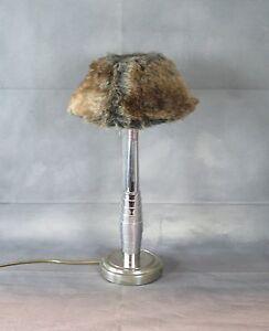 Détails sur Lampe en métal chromé avec abat jour à poils