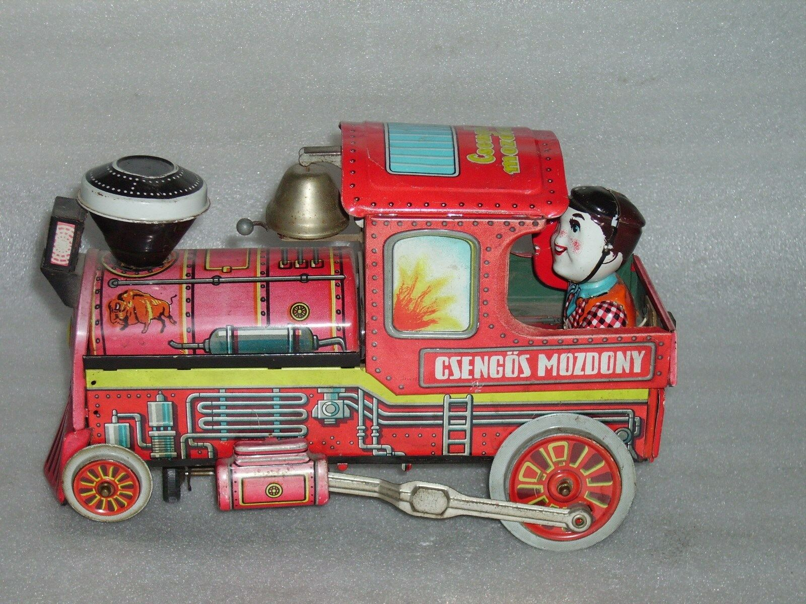 Vintage E.FILM LEMEZ Battery Operated Tin Litho Print Locomotive Train Train Train Hungary ed794c
