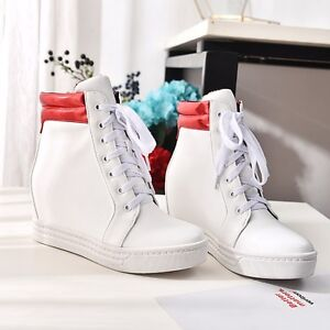 stivaletti scarpe sportive donna zeppa 5 lacci bianco rosso simil pelle 8970