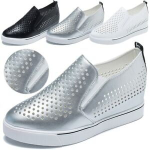 Women-Platform-Hidden-Wedge-Loafers-Sneakers-Slip-On-High-Heels-Hollow-Out-Shoes
