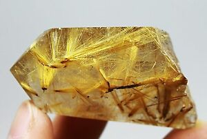 63g Rare!!! NATURAL Golden Hair Rutilated Quartz Crystal Point Healing
