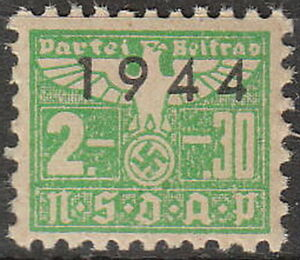 Stamp Germany Revenue WWII 1944 3rd Reich Reich Era Party Dues 02.30 MNH
