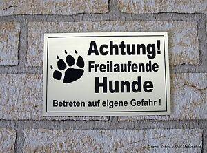 Achtung,freilaufende,hunde,12 X 8 Cm,gravur,schild,hundeschild,türschild,warnung Möbel & Wohnen Hunde