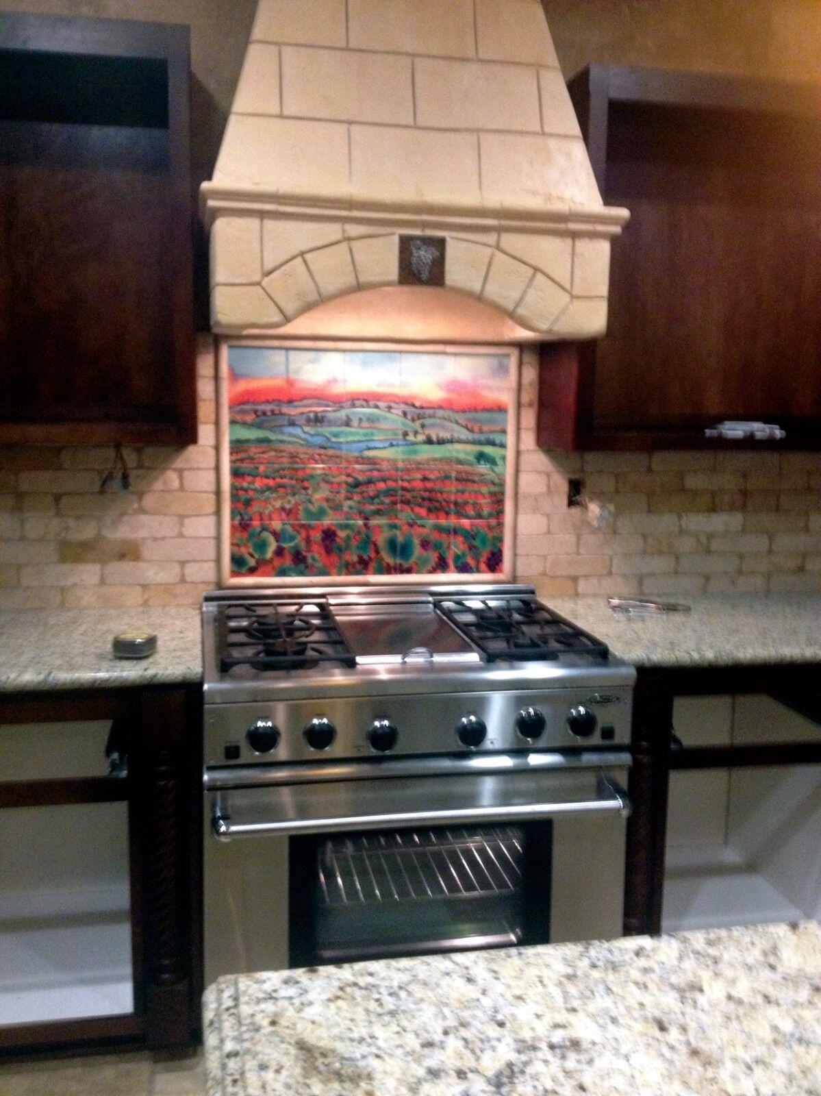 Contemporary Art Williams Grape Field  Mural Ceramic Kitchen Bath Tile  2450