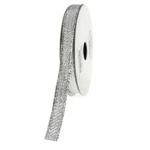 3//8-Inch Solid Metallic Wired Christmas Ribbon 10 Yards