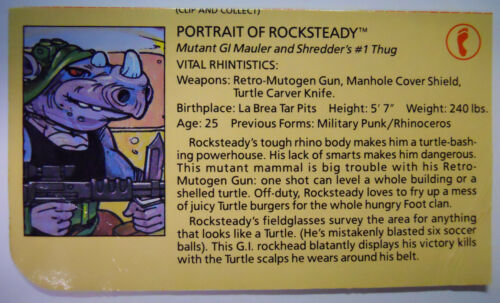 VINTAGE 1988 Playmates Teenage Mutant Ninja Turtles Filecard-Rocksteady