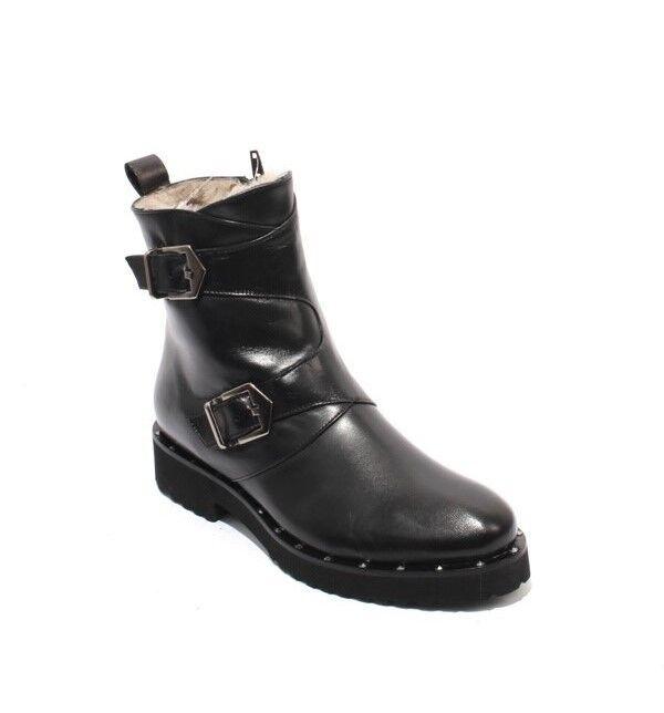 Luca Luca Luca Grossi 172a Negro Cuero Tachas Hebilla De Piel De Oveja Cremallera botas 36.5 US 6.5  grandes ahorros